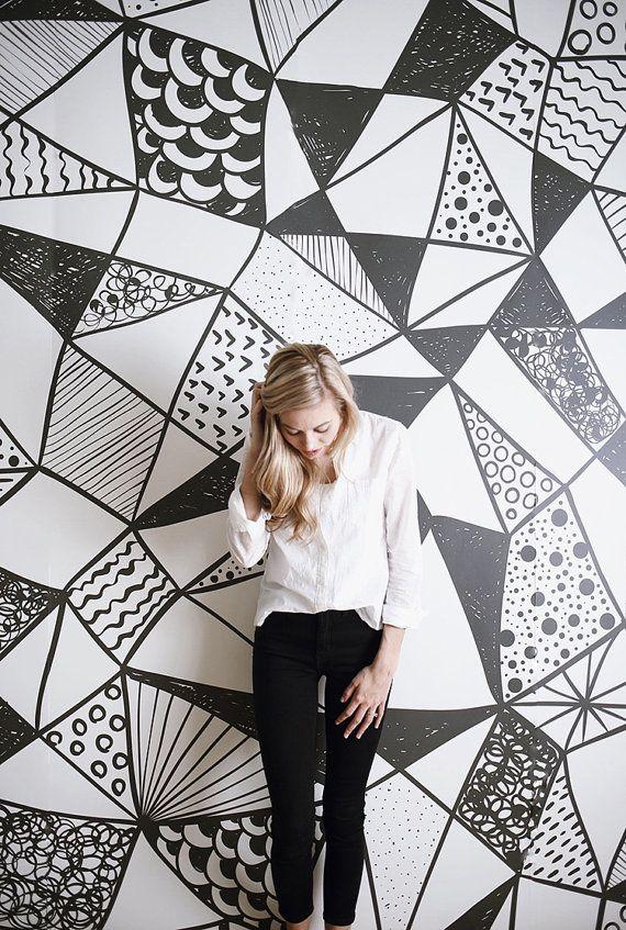 Papel pintado geométrico blanco y negro - grandes murales Mural, Mural acuarela,