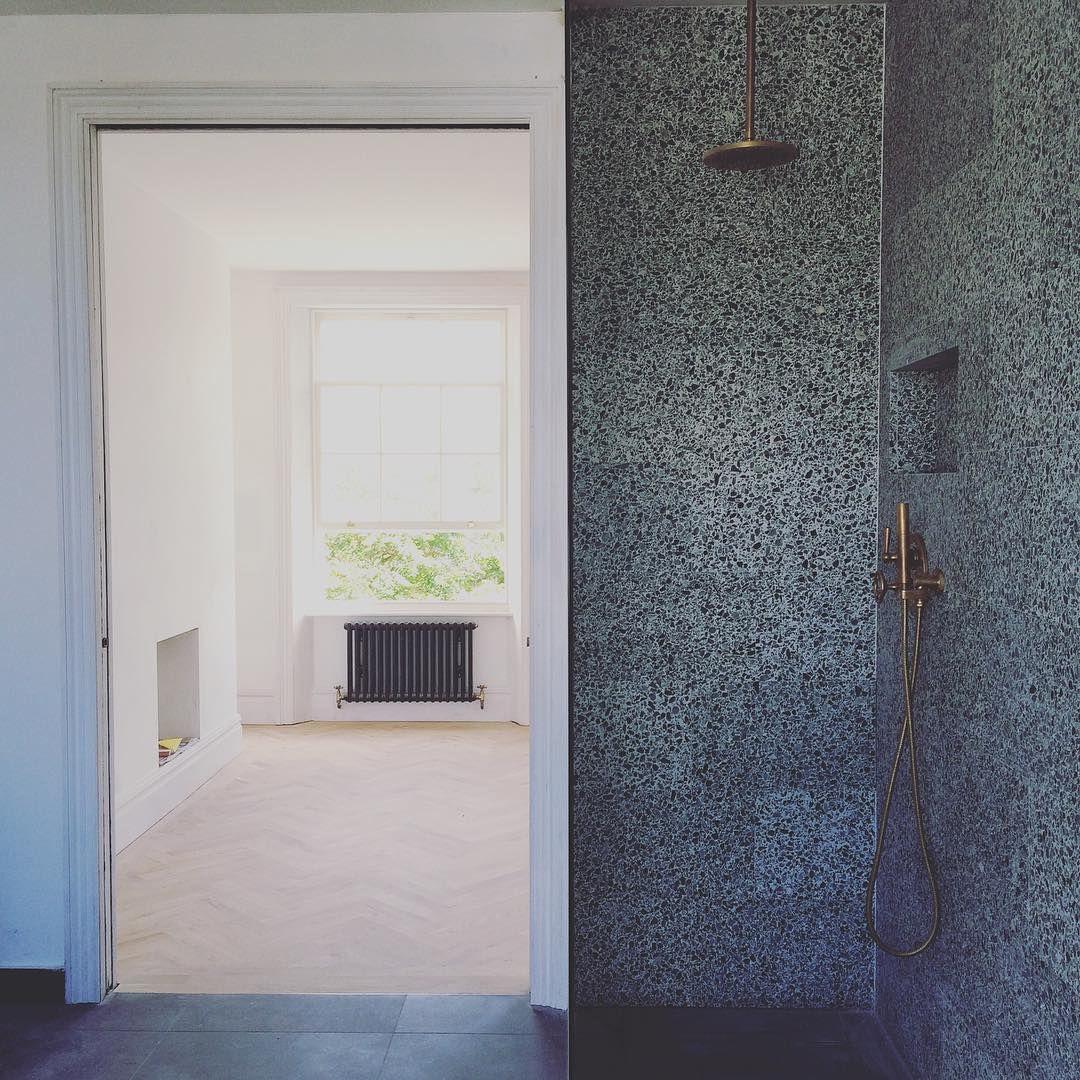 terrazzo bathroom, terrazzo shower, brass, green terrazzo ... - Terrazzo Shower Base