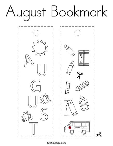 August Bookmark Coloring Page - Twisty Noodle in 2020 ...