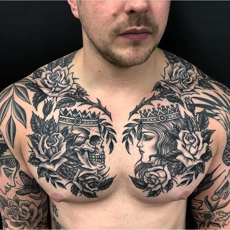 Old School Inspiration Inkstinct In 2020 Cool Chest Tattoos Chest Tattoo Men Tattoos For Guys