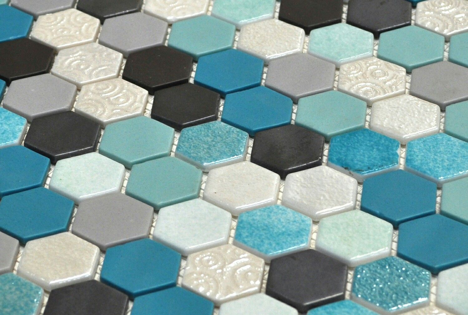 Blue bathroom floor tiles texture teal hexagon tile  inch by  inch  square foot handmade
