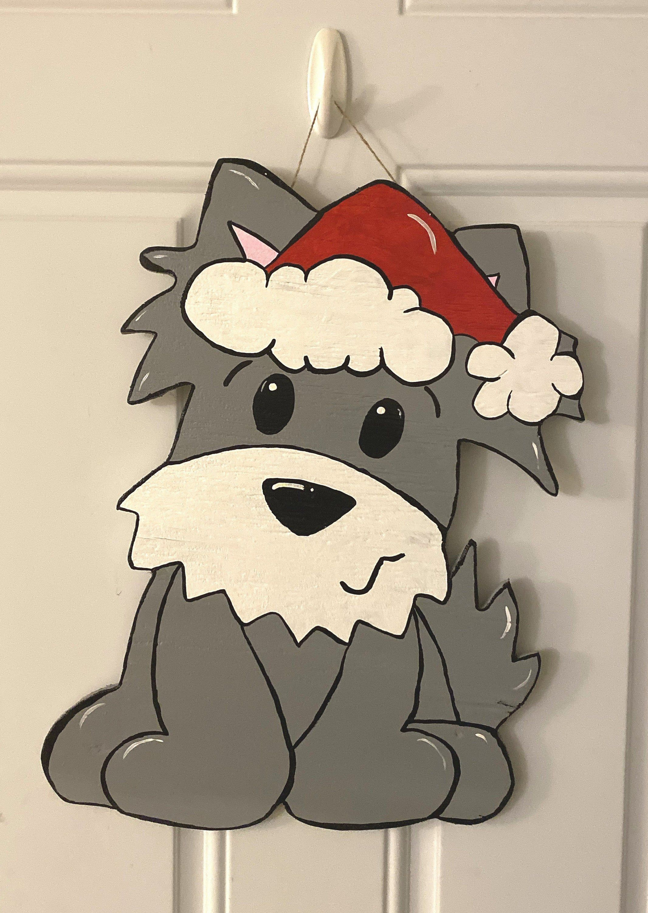 Photo of Pet Parent Gift- Gray Christmas Dog Wooden Door Hanger- Farmhouse Decor- Rustic Home Decor- Hand Painted Wood