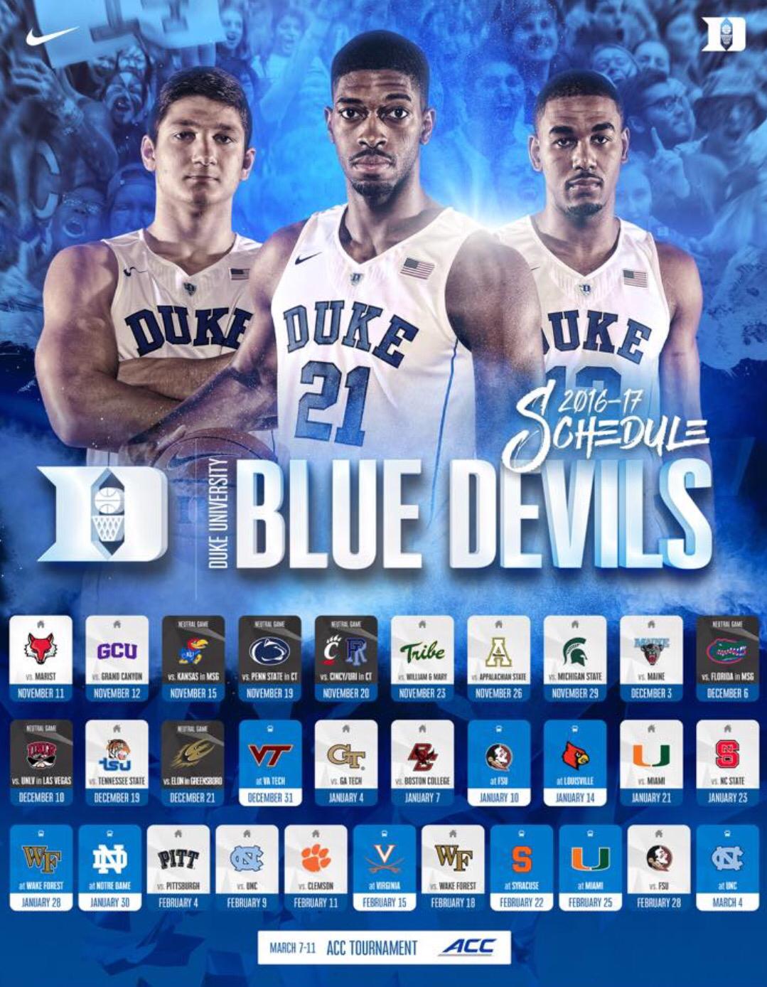 the latest 72532 5f21b 2016-2017 Schedule   Duke Blue Devils   College basketball ...