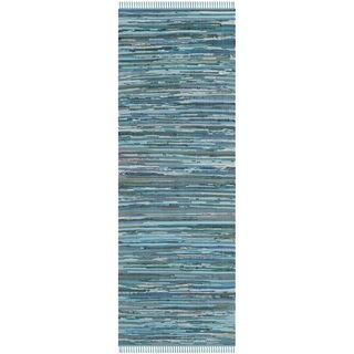 Safavieh Hand-woven Rag Rug Blue Cotton Rug (2'3 x 8') - Overstock™ Shopping - Great Deals on Safavieh Runner Rugs