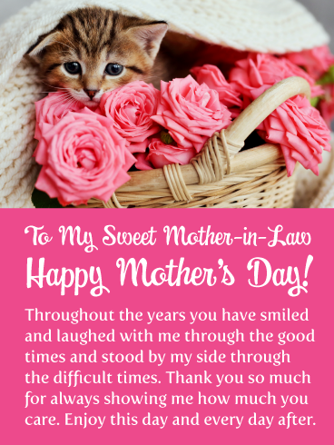 Kitten Roses Happy Mother S Day Card For Mother In Law Birthday Greeting Cards By Davia Happy Mothers Day Wishes Mother Day Wishes Happy Birthday Greetings Friends
