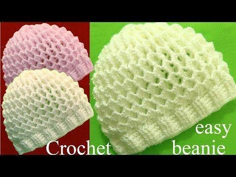 (25) Gorro a Crochet en punto 3D panal o nido de abeja tejidos  tallermanualperu - YouTube bf45b2e1536