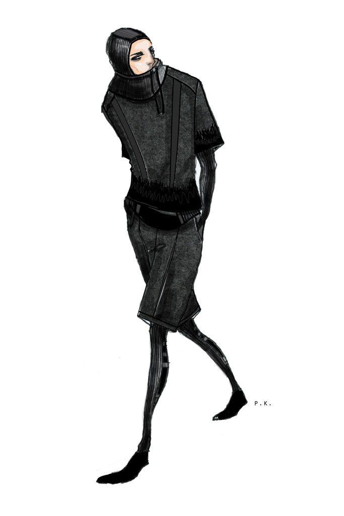 Fashion illustration - fashion design sketch; fashion drawing // Public School Womenswear