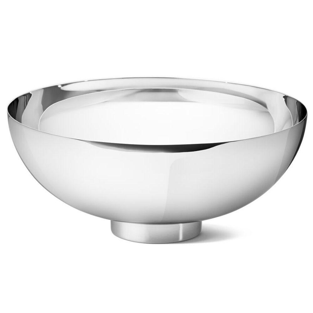 Georg Jensen Ilse Modern Classic Silver Stainless Steel Bowl Large Stainless Steel Bowl Modern Classic Bowl