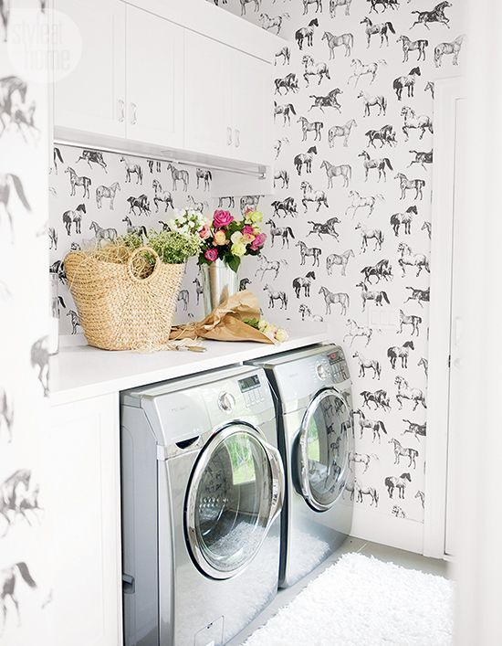 A Laundry Cum Mud Room With A Bold Wallpaper Print {PHOTO: Tracey