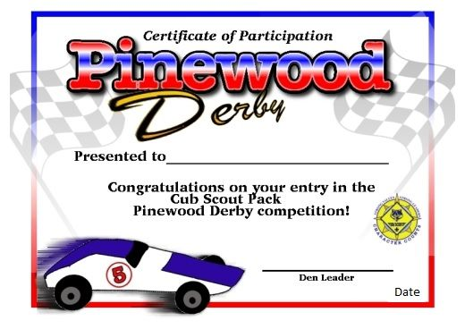 Pinewood derby certificate of participation cub scout for Boy scouts pinewood derby templates