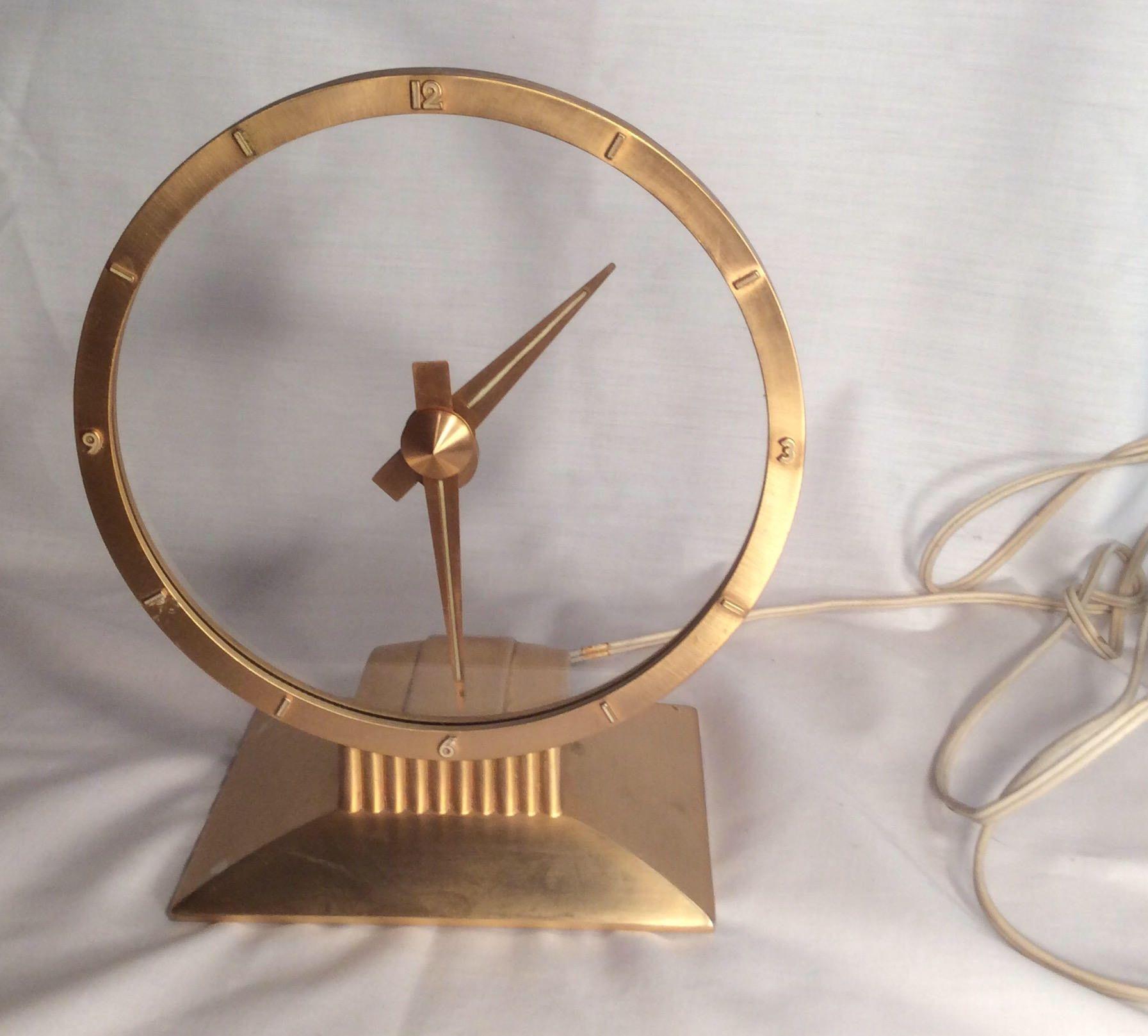 Jefferson golden hour electric clock vintage mid century