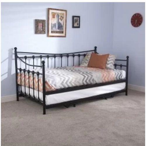 Metal Bed Frame Single Size Black Rail Side Trundle Wood Slats Bedroom Furniture