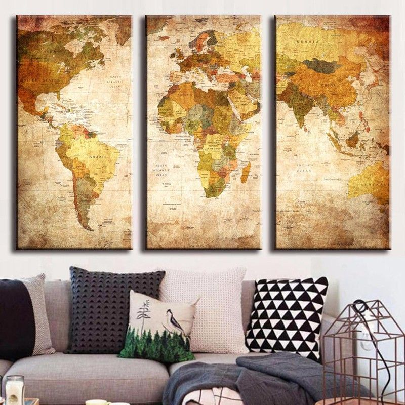 3 piece Large vintage world map canvas prints painting modern home ...