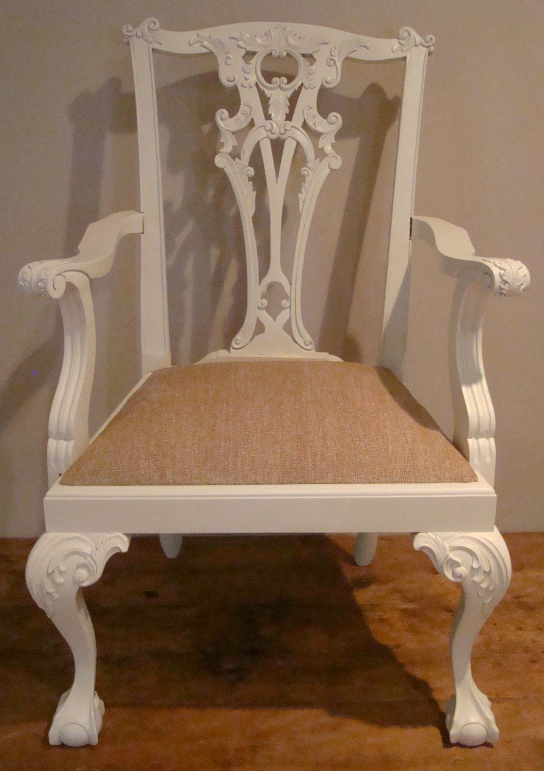 Childs Chippendale Arm Chair Painted Farrow U0026 Ball White Hand Carved  Mahogany. £79.00,