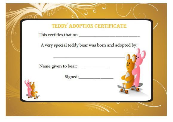 Teddy Adoption Certificate  Adoption Certificate Template