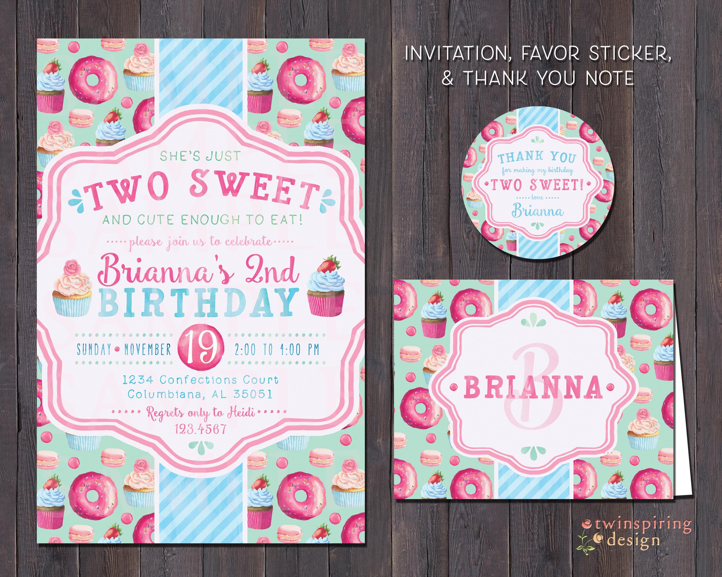 Two sweet cupcake donut birthday party invitations thank you notes two sweet cupcake donut birthday party invitations thank you notes andor favor stickers sweet treats birthday party package stopboris Images