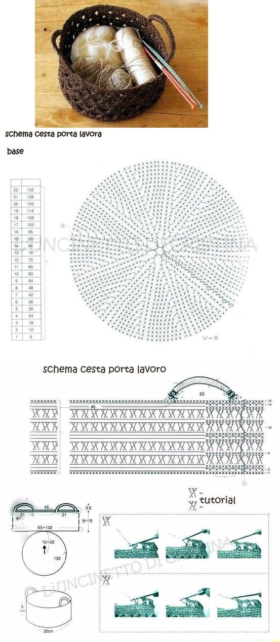 Cesta crochet ganchillo Esquema Diagrama Patrón | Tejidos ...