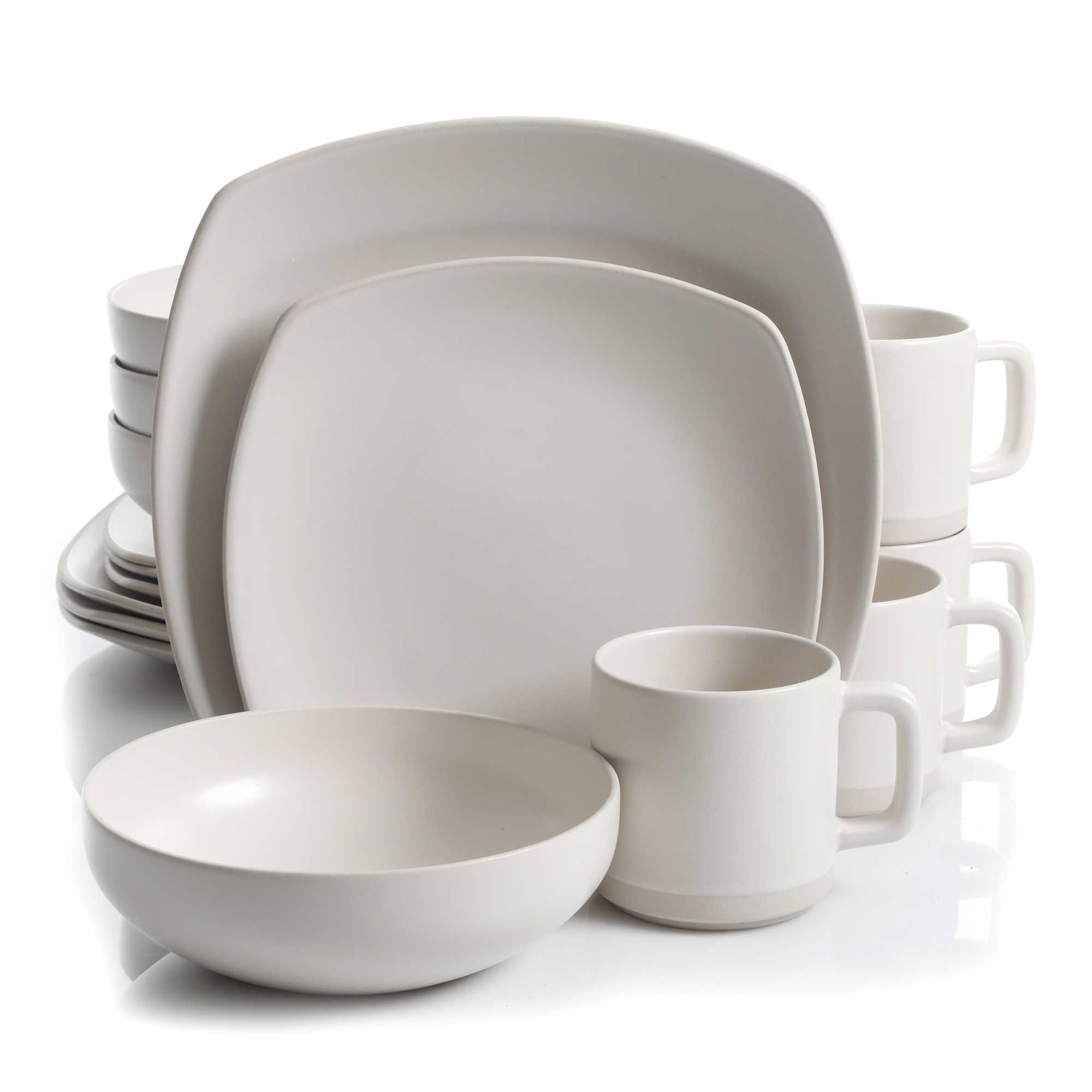 Al Kitchen Supply Edge 16 Piece Square Dinnerware