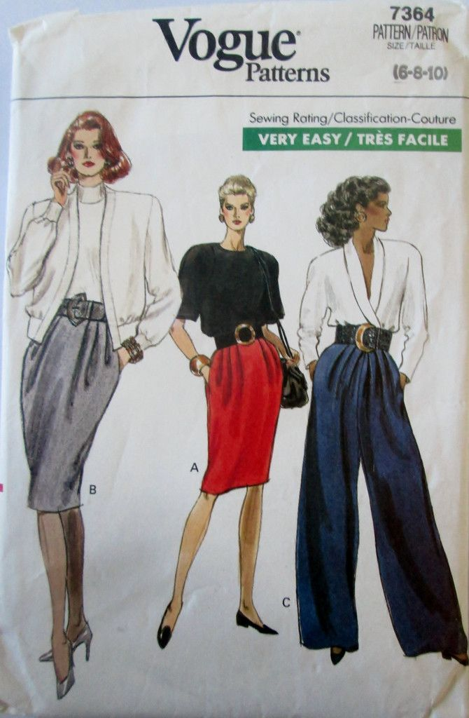 Vogue 7364 Women\'s 80s Sewing Pattern Tapered Skirt & Wide Legged ...