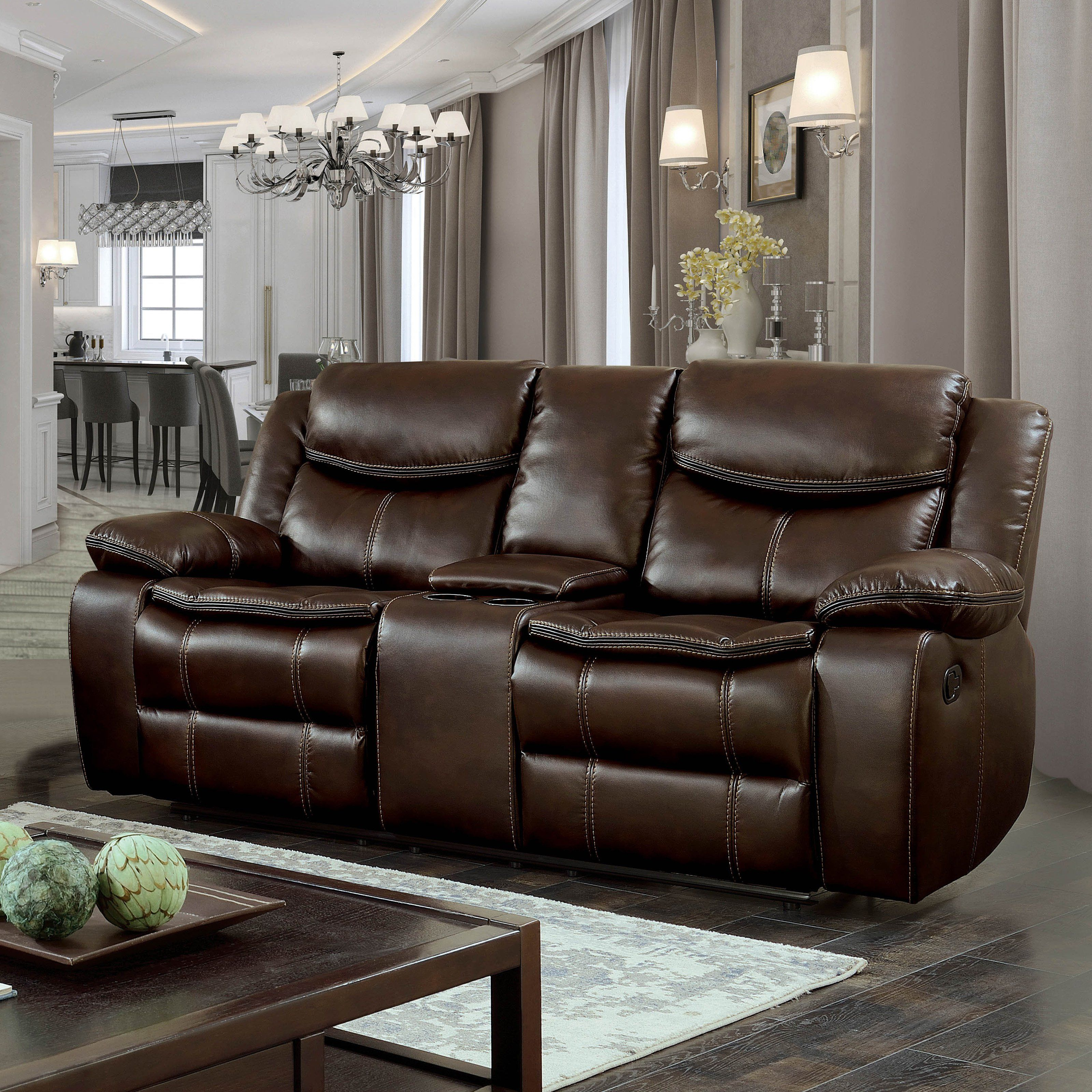 Fabulous Furniture Of America Barron Breathable Leatherette Loveseat Machost Co Dining Chair Design Ideas Machostcouk