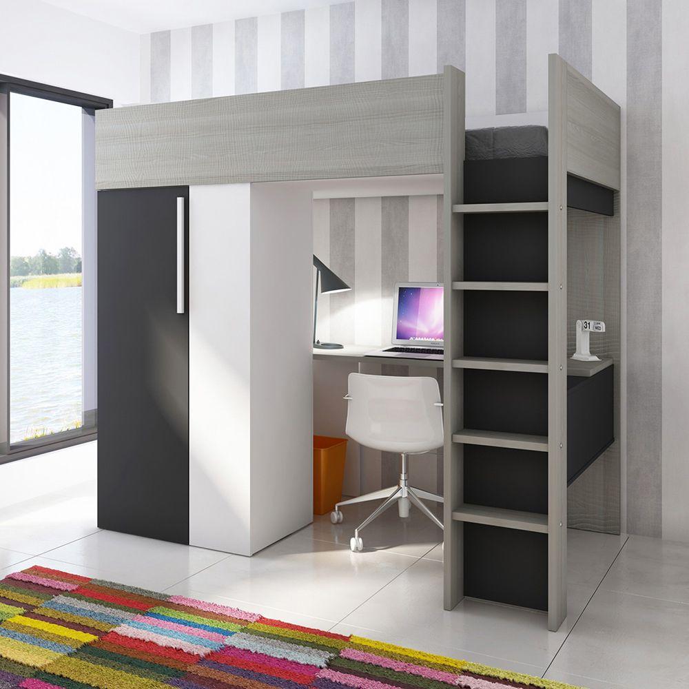 Trasman Studio Highsleeper With Wardrobe And Desk Charcoal Jellybean Ireland