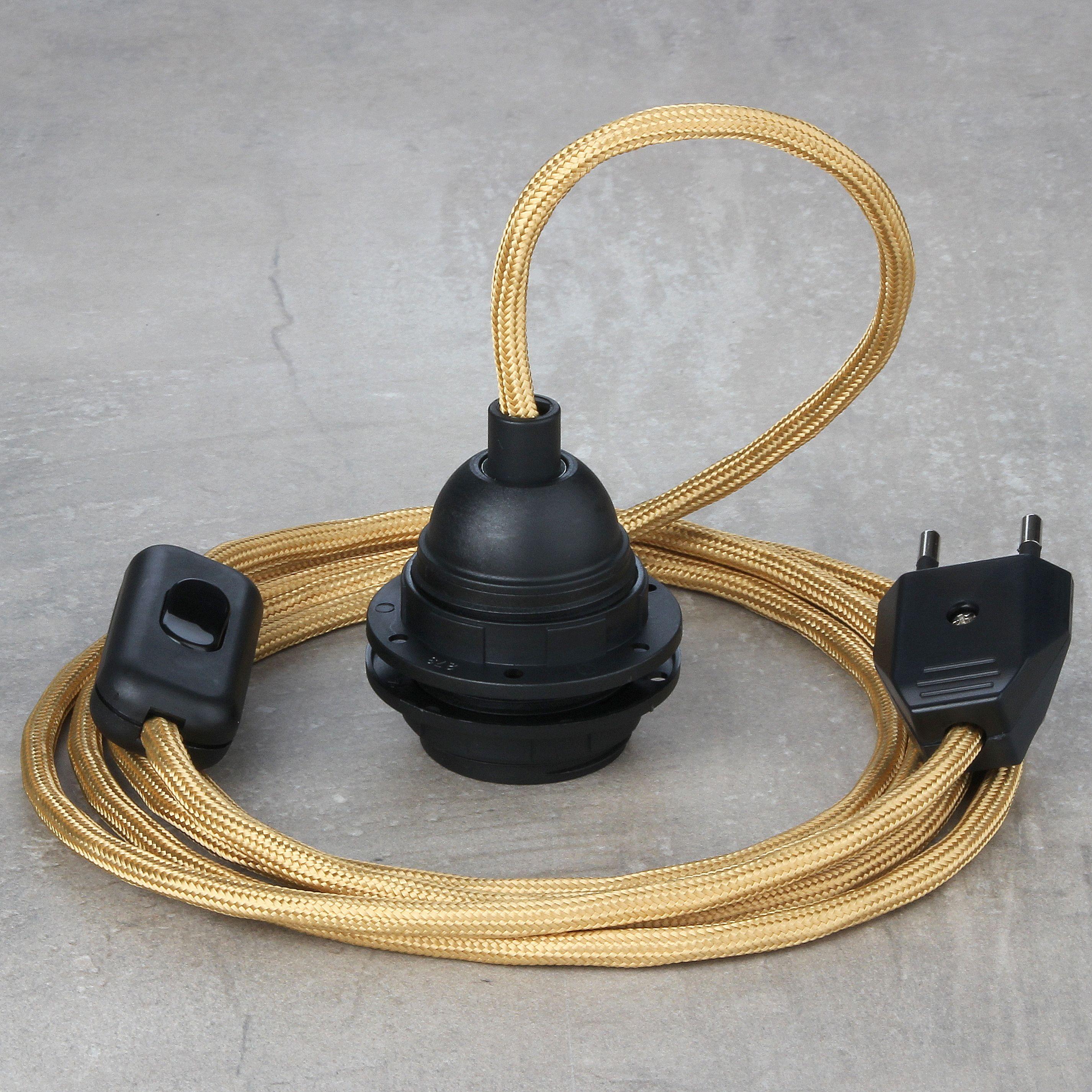 Textilkabel Pendel Gold Mit E27 Fassung Online Kaufen 26 27 A Textilkabel Pendel Kabel