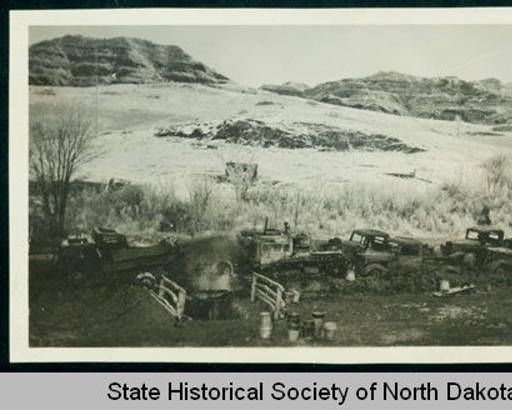 Truck remains after the garage fire, CCC camp 2772 near Watford City, N.D. :: State Historical Society of North Dakota (SHSND)