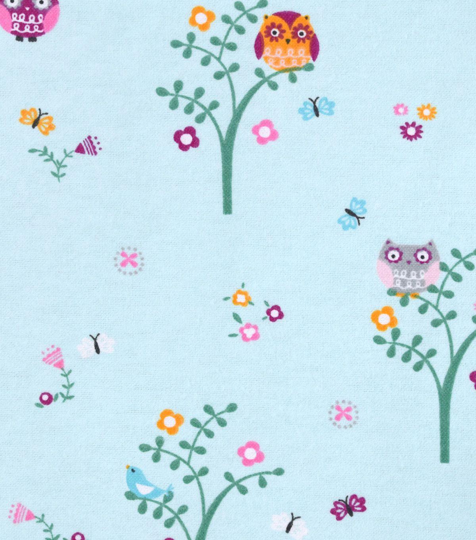 Nursery Flannel Fabric Bright Owl Nursery Fabric Baby Fabric