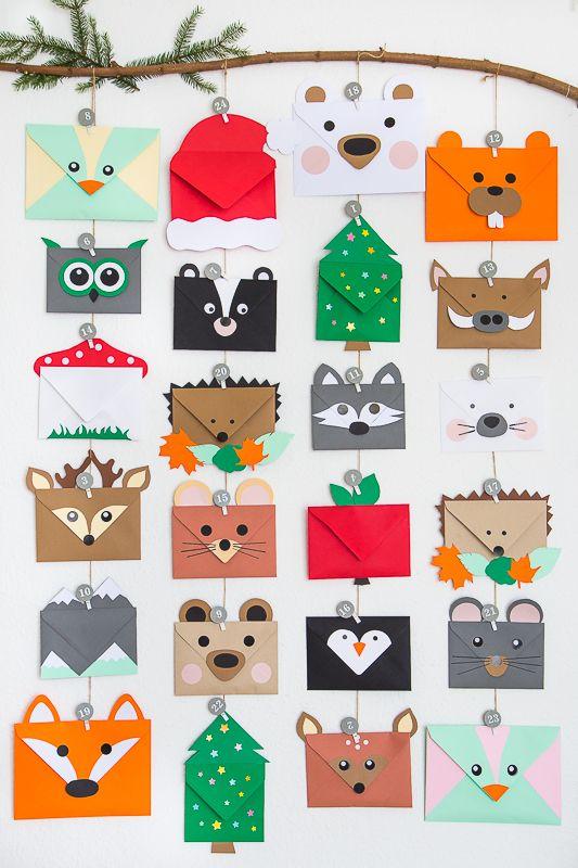 Tierischer Adventskalender aus Briefumschlägen | Pfefferminzgrün