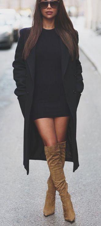 #winter #fashion / black knit dress + knee length boots ...