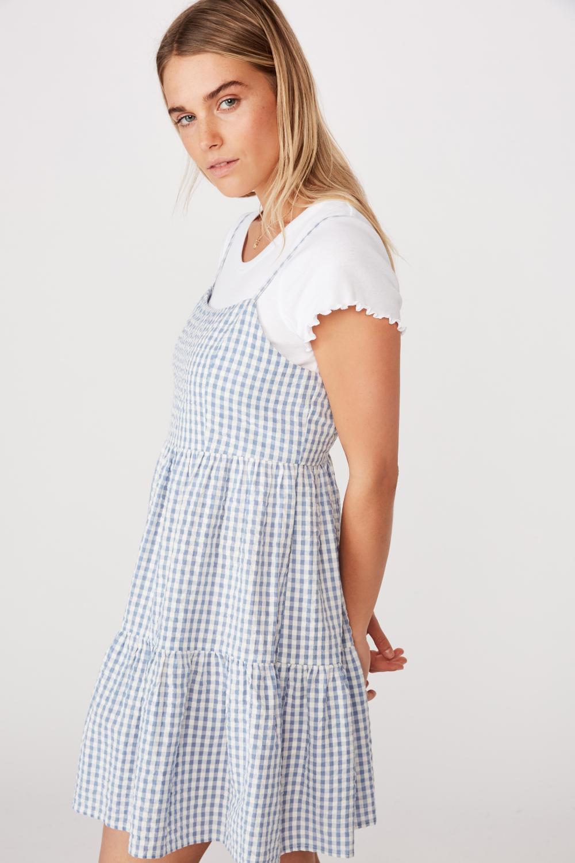 Woven Birdie Tiered Mini Dress Teenage Dress Shirt Under Dress Layer Dress Outfit [ 1500 x 1000 Pixel ]