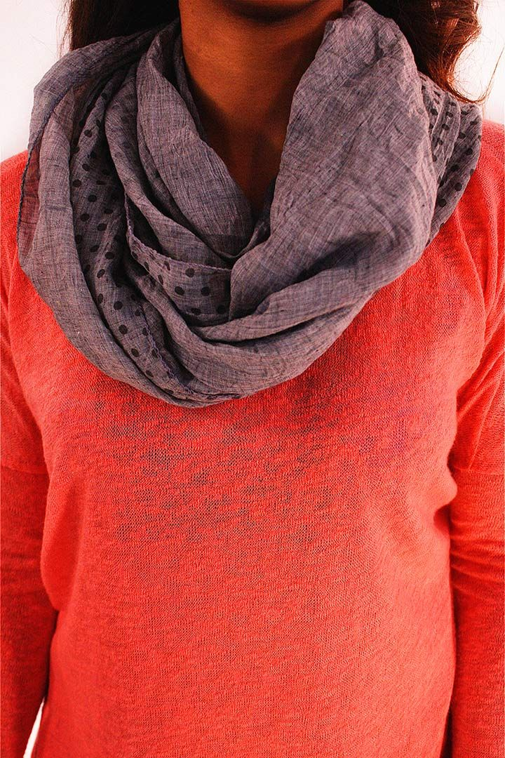 Chic Dots Infinity Scarf - This double sided smoky gray infinity scarf adds a simple yet chic touch to an outfit. Solid gray chambray on one side. Charcoal gray polka dots adorn the other side. Intertwined creating just the right amount of flair.  - available online at http://www.envyboutique.us/shop/chic-dots-infinity-scarf/ #Envy #Boutique #chic #fashion #fashiontrends #GrayInfinityScarfPolkaDotsScarf, #GrayScarf, #InfinityScarf