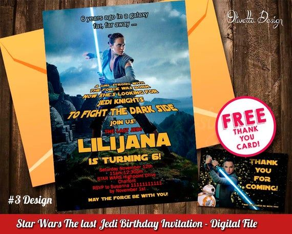 Rey Invitation, The Last Jedi Invitation, Star Wars Birthday Invitation Star Wars Invitation Printab
