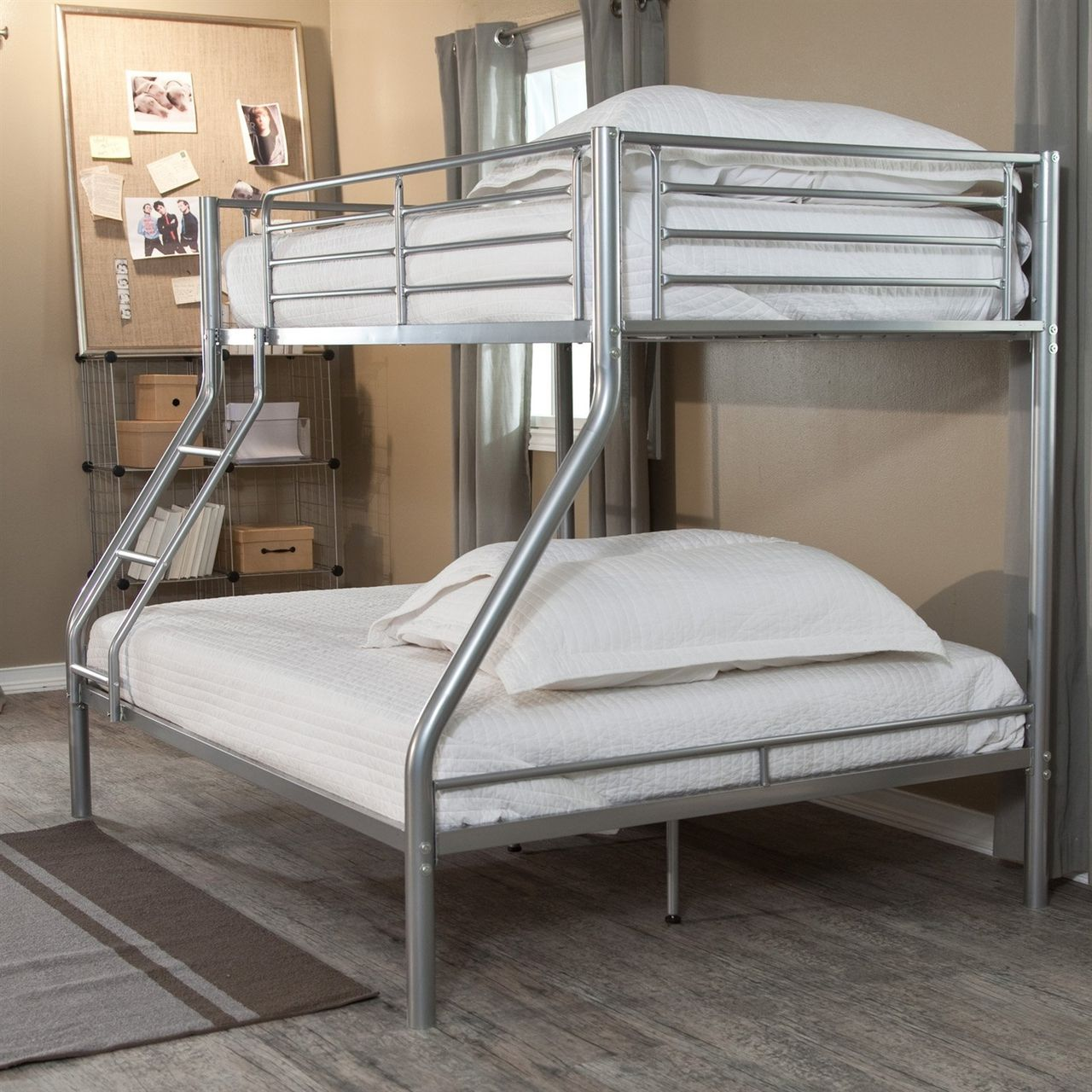 Modern Twin Over Full Bunk Bed In Silver Metal Finish Full Size