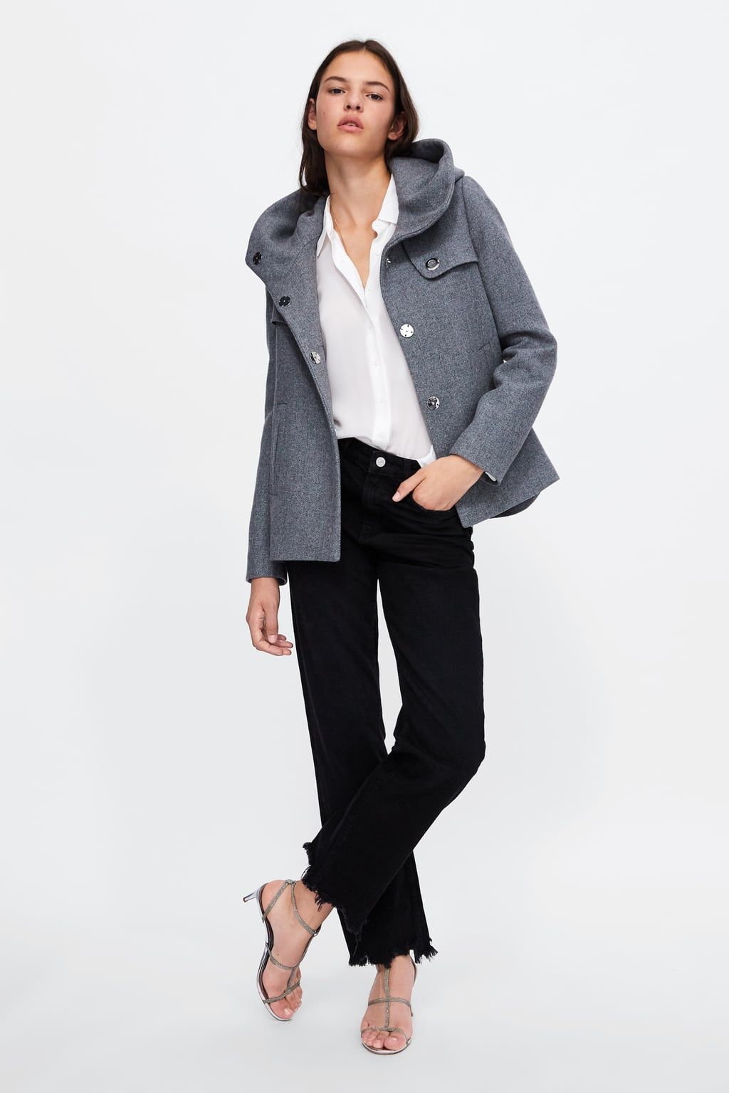 e62c69f0 Image 1 of SHORT COAT WITH LARGE FUNNEL COLLAR from Zara Zara Women, Coats  For