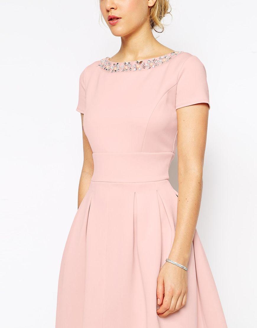 ASOS PETITE Debutante Dress With Embellished Neck | Wedding guest ...