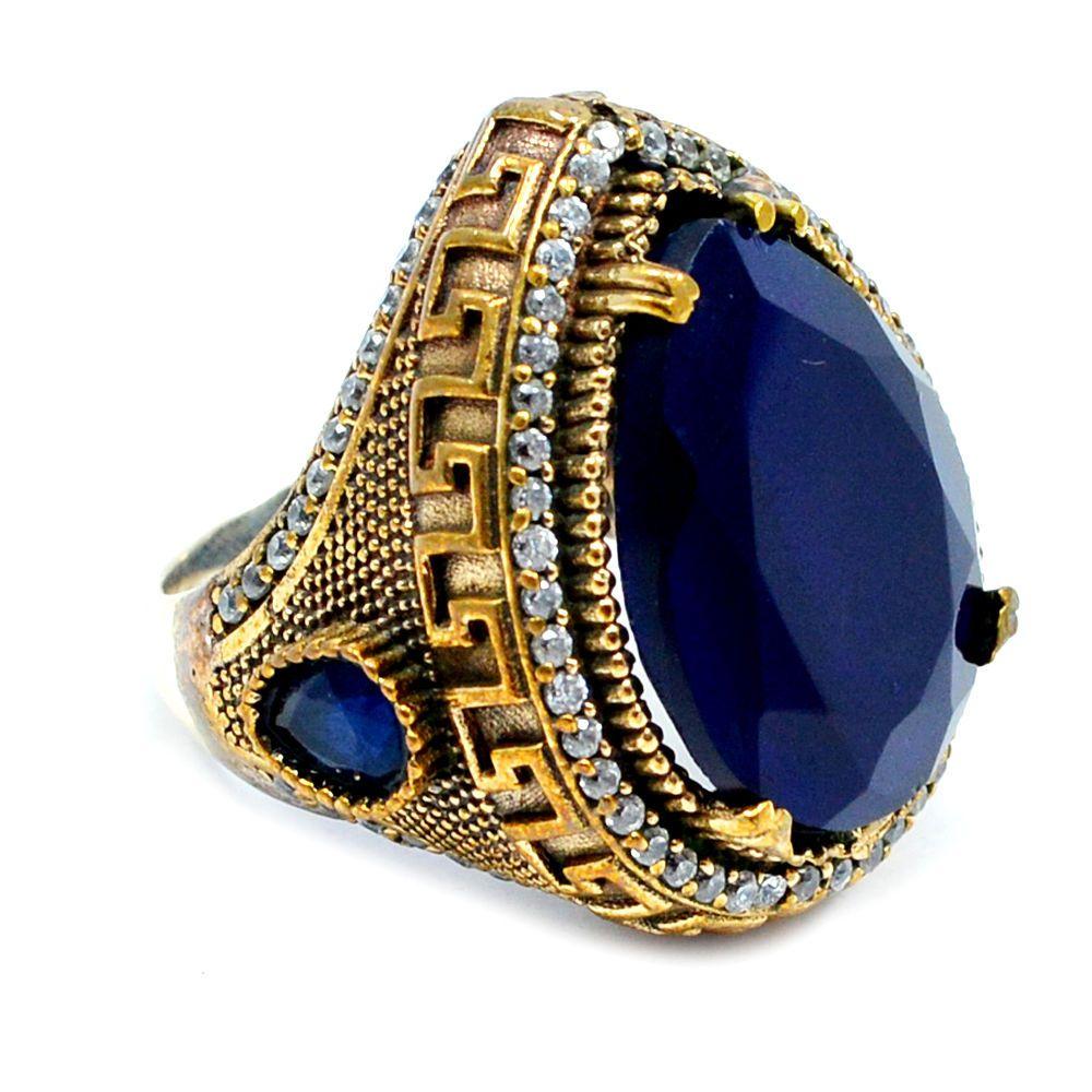 Pear Shaped Sapphire Gemstone Turkish Jewelry Silver Bronze Turkish Ring SI-7142