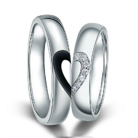 $59.95-Sterling Silver Two-in-one Heart Rings With White Gold Plated