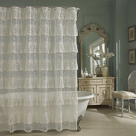 My favorite.  Use with clear or ivory liner.  Priscilla Lace Shower Curtain in Ivory