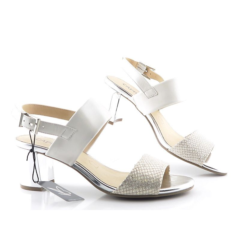 834b4cdb696c Kožené béžovo-zlaté sandálky so strieborným podpätkom CAPRICE ...