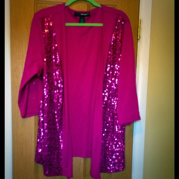 DONATED!! sequin magenta cardigan Barely worn--such a rich, gorgeous color! I love offers ! Denim 24/7 Sweaters Cardigans