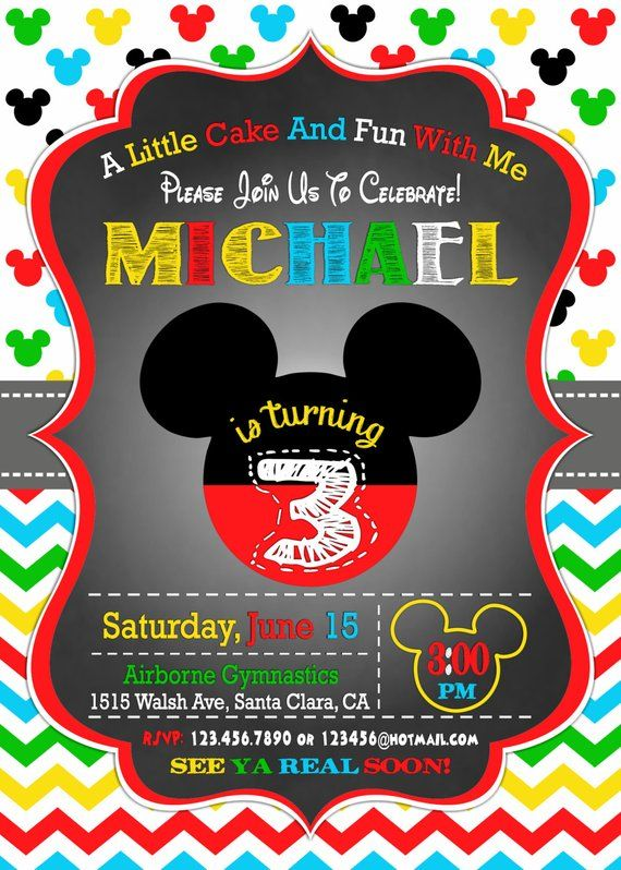 Mickey Mouse Birthday Invitation 3rd