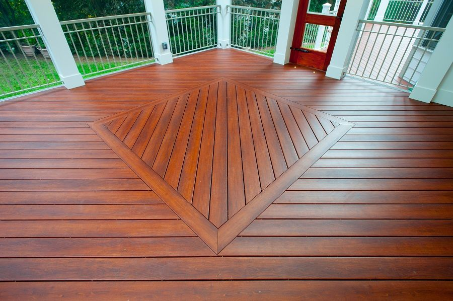 Brazilia Zuri decking inlay Bethesda creened porch interior