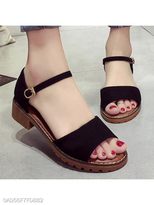 Plain Low Heeled Velvet Ankle Strap