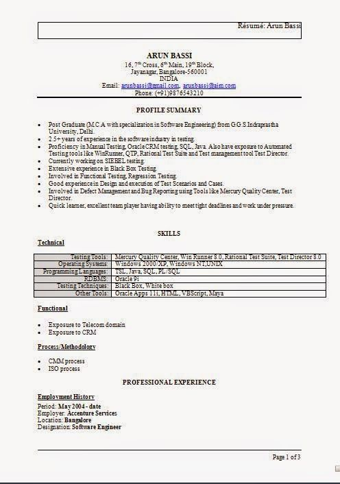 good resume templates Sample Template Excellent Curriculum Vitae - sap fico resume sample