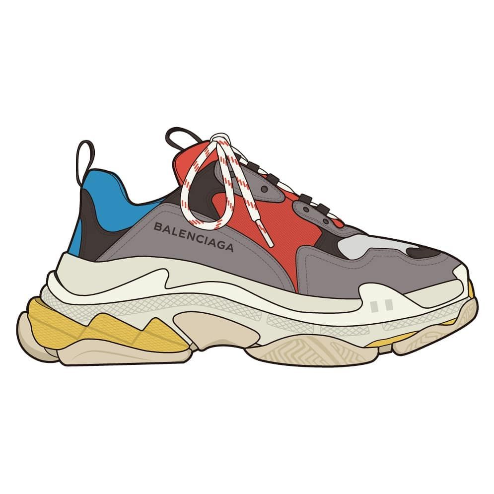 Balenciaga Triple S Https Www Etsy Com Shop Haydenkoodesigns Zapatos Dibujos Dibujo Zapatillas Zapatos Balenciaga
