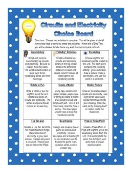 Free Summative Assessment Idea Electricity Choice Board  Grade