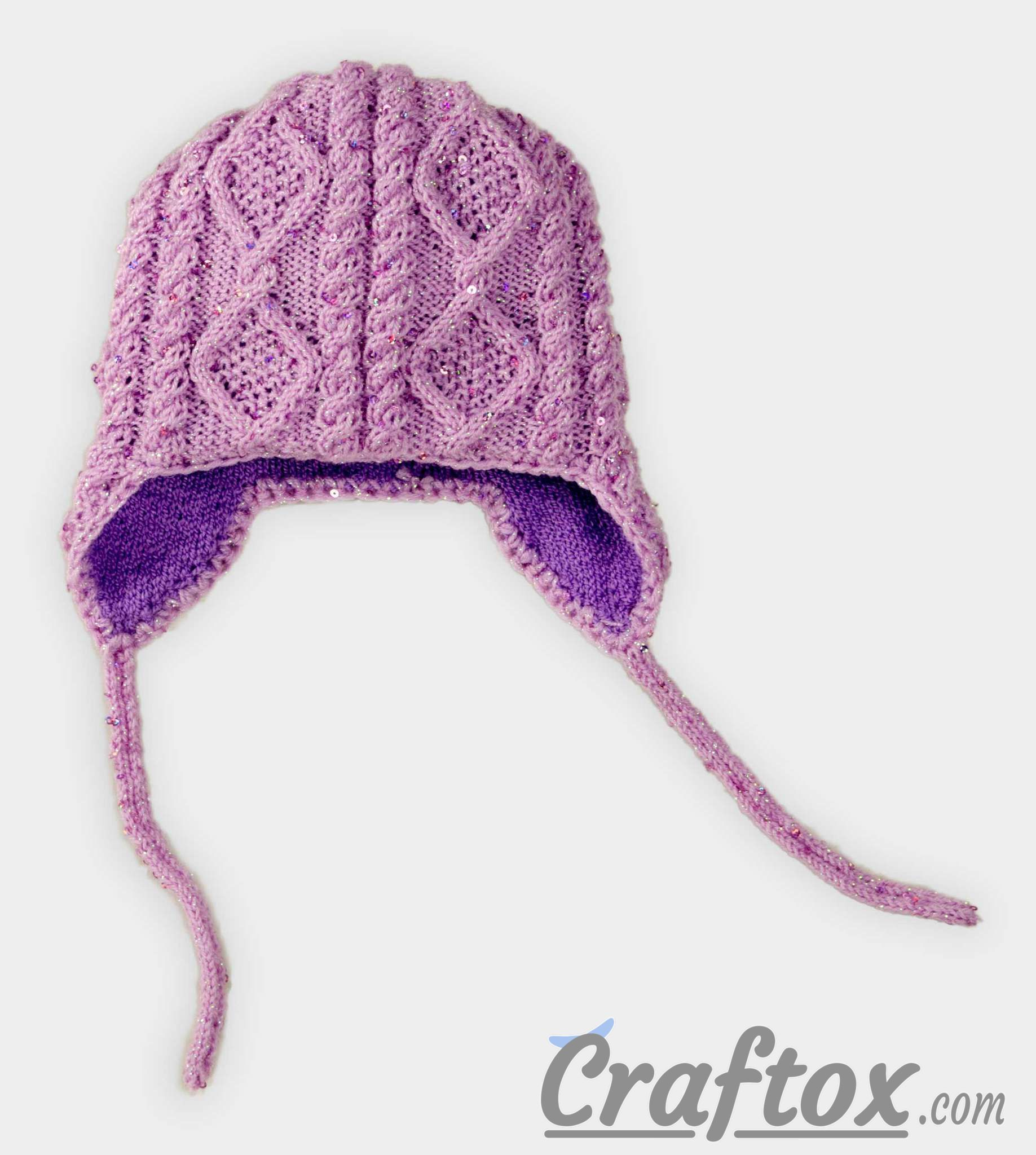 Aran (diamonds and cable) earflap hat. Front view. Aran (diamonds ...