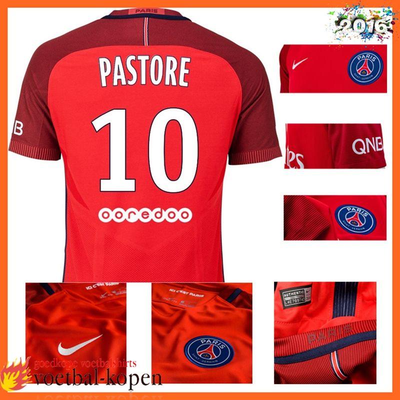 Originele Paris PSG Uitshirt PASTORE 10 Rood 2016 2017 Nederland