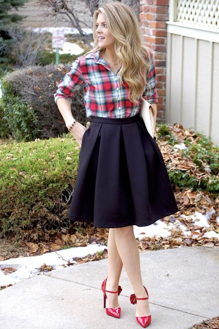 37bfb770a Easy Holiday Outfit: red plaid shirt with a black box-pleated circle skirt